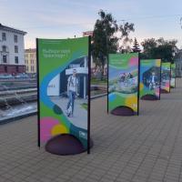 На площади Якуба Коласа в Минске разместили выставку «Транспорт 100 лет назад».