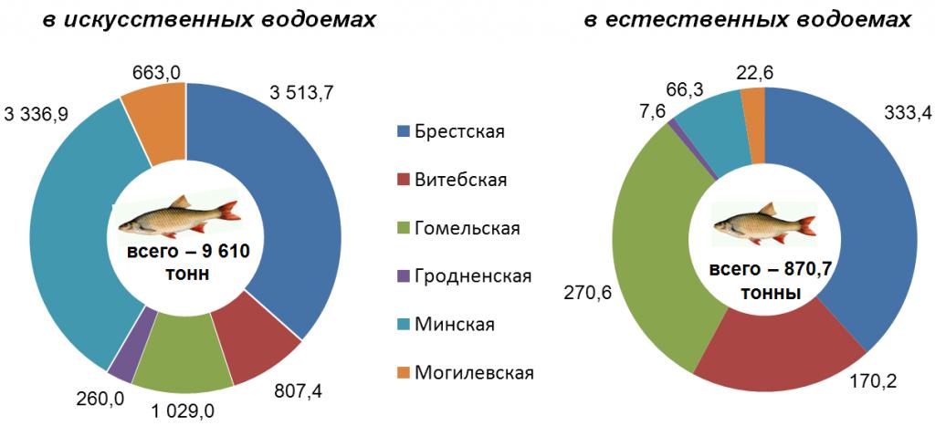 Промысловый улов рыбы по областям в 2015 году (тонн)