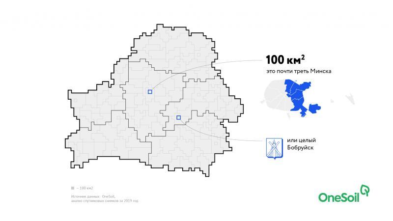 Единица измерения на иллюстрациях - 100 квадратных километров