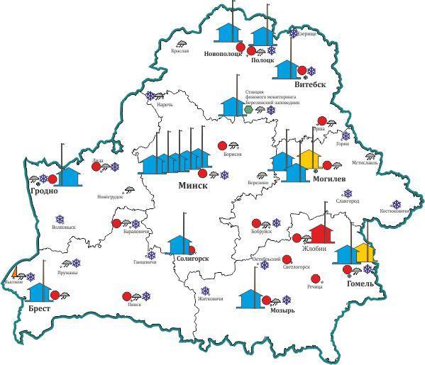 Схема размещения пунктов мониторинга атмосферного воздуха